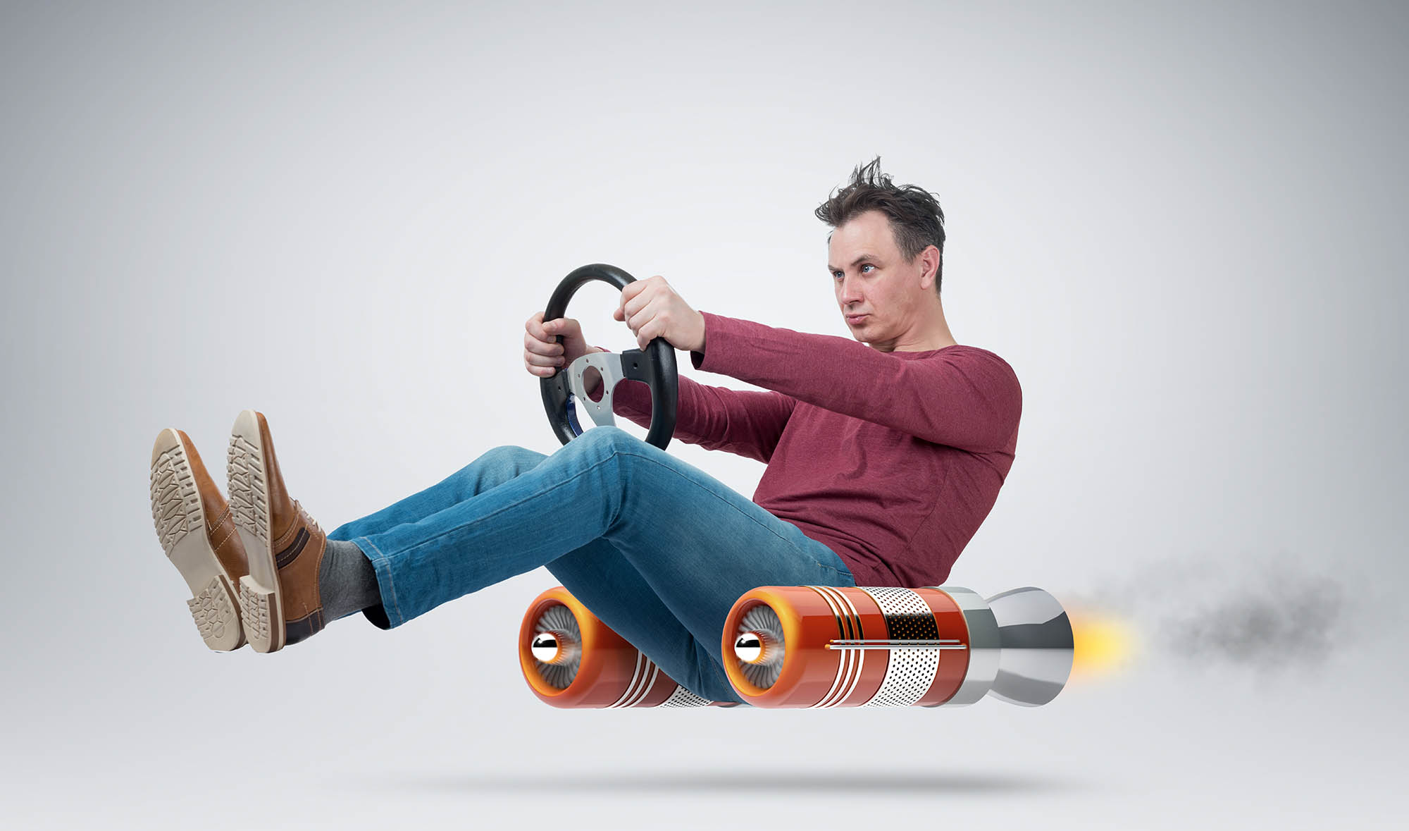 Funny man car driver with a wheel, concept of alternative transp
